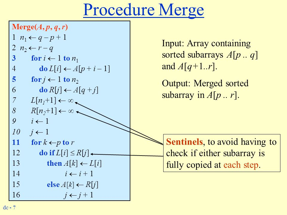 Procedure Merge Merge(A, p, q, r) 1 n1  q – p + 1. 2 n2  r – q. for i  1 to n1. do L[i]  A[p + i – 1]